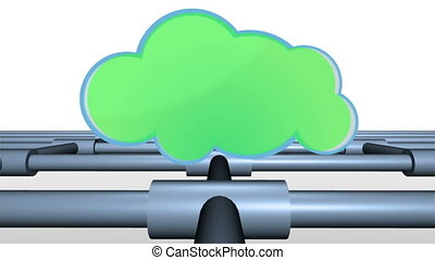 Clouds in chroma key on a grid - Animation with clouds in...