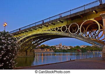 Triana, Puente, noche, sevilla, españa