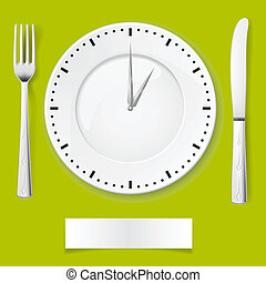 Dinner time - Fork, spoon and clock-plate. Illustration for...