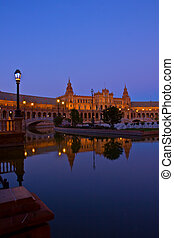 Plaza de Espantilde;a at night, Sevilla, Spain - Plaza de...