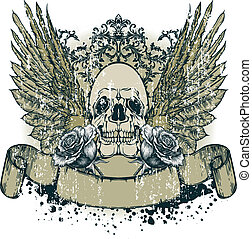 Skull with wings and blooming roses