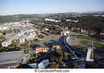 Highly detailed aerial city view with crossroads, roads, factories, houses, parks, parking lots, exhibition grounds, Brno, Czech Republic