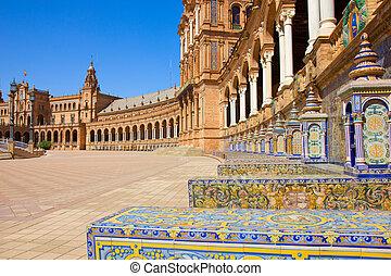 benches of Plaza de España, Seville, Spain - tiled benches...