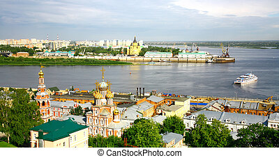 Nizhny Novgorod cityscape in the morning of july