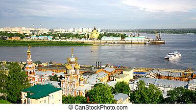 Nizhny Novgorod cityscape in the morning of july