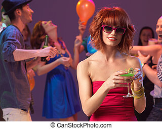 sexy woman drinking cocktail in night club - sexy, young...