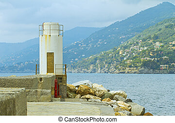 Tower - Little white tower guarding the coastline at sea