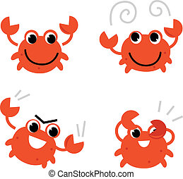 Cartoon crab in different poses isolated on white - Cute...