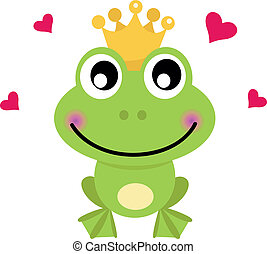 Frog cartoon prince isolated on white - Frog prince. Vector...