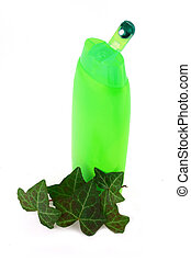 shampoo and bottles - Green color shampoo and conditioner in...