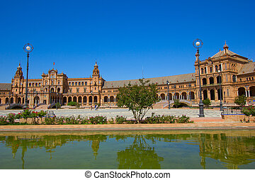 bridge of Plaza de España, Seville, Spain - bridge of Plaza...