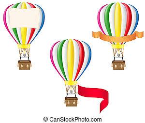 chaud, air, balloon, vide, bannière, Illustration