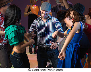 happy young people dancing in night club - happy, young...