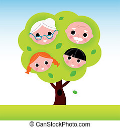 Family tree with grandparents and kids - Cartoon two...