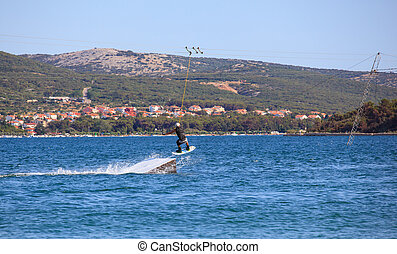 Cable ski in the Punat sea, Croatia - Cable ski in the Punat...