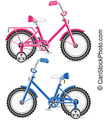 pink and blue kids bicycle illustration isolated on white...
