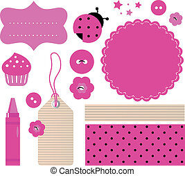 Scrapbook elements set isolated on white - Pink scrabook...