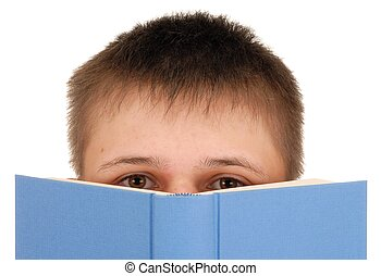 Boy Reading Book - Teenager reading a book isolated on white