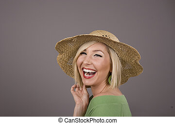 Blonde in Straw Hat Laughng