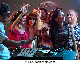 Klubba, musik,  DJ, leka, Natt