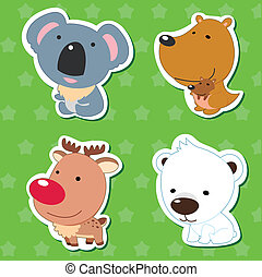 cute animal stickers with kangaroo, koala, elk, and polar...