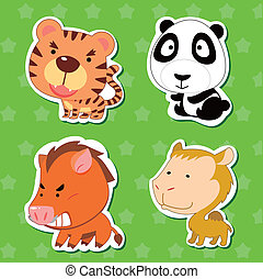 cute animal stickers with tiger, camel, wild boar, and panda...