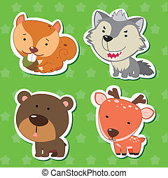 cute animal stickers with bear, wolf, squirrel, and deer