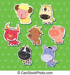cute animal stickers with sheep, bull, goat, dairy cattle,...
