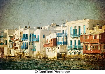 vendimia, imagen, poco, Venecia, Mykonos, isla, grecia