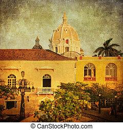 Vintage image of Cartagena, Colombia