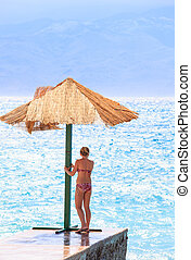 Girl in the Baska beach, Croatia
