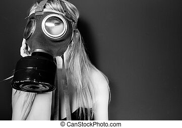 Woman in gasmask