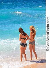 Girls in the Baska beach, Croatia