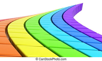Rainbow-colored cubes in perspectiv