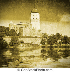 medieval Swedish castle in Vyborg Imitation of old postcards...