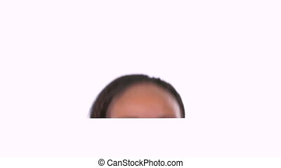 Woman showing up against white background