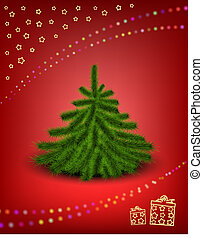 Christmas card - Little fluffy Christmas tree on snowy...