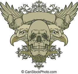 Skull with wings and double-headed eagle, hand-drawing....