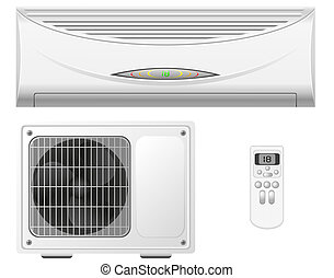 air conditioning split system illustration isolated on white...