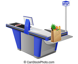 cash register terminal and shopping bag with foods...