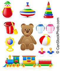 icon of toys and accessories for babies and children...