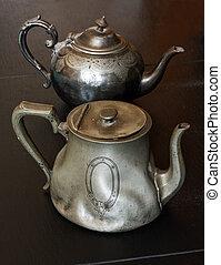 antigüidade, pewter, teapots
