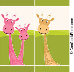 Postcard with a giraffe - Cute postcard with pink giraffes
