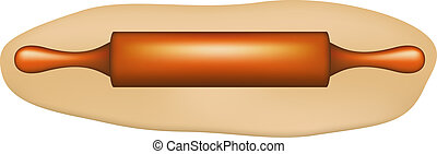 Dough with rolling pin on white background