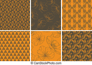 set of seamless wallpaper with flor