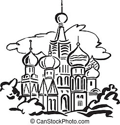 St Basils Cathedral Moscow - Line illustration if St Basils...