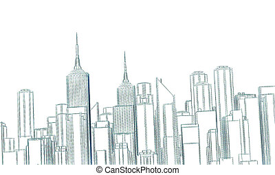 downtown district sketched isolated on white background