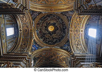 gorgeous eiling of the baroque chirch in Italy, Rome