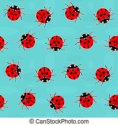 Ladybugs - old-fashioned vector pattern