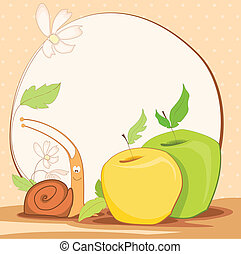 cute frame design with snail